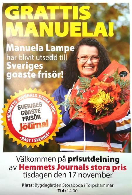 """Nu i sommar har jag blivit utsedd till """"Sveriges goaste frisör"""" av tidningen Hemmets Journal! Det är så otroligt roligt!"""
